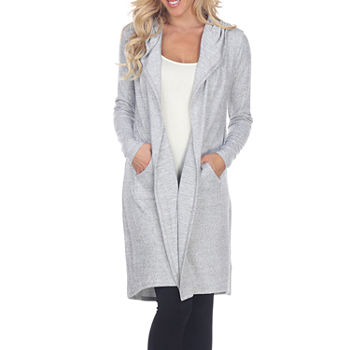 White Mark Womens Hooded Neck Long Sleeve Open Front Cardigan