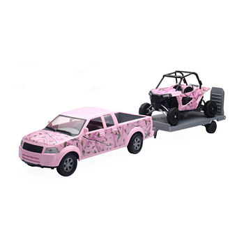 New Ray Pink Camo Pickup Truck Set