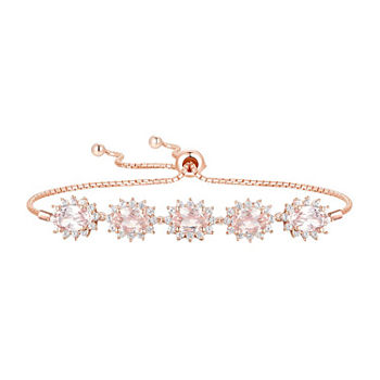 Lab Created Pink Champagne Sapphire & White Sapphire Starburst Bolo Bracelet in 14K Rosegold over Silver