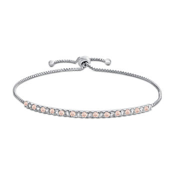Lab Created Pink Champagne Sapphire & White Sapphire Bolo Bracelet in Sterling Silver