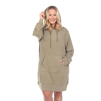 White Mark Long Sleeve Sweatshirt Dress-Plus