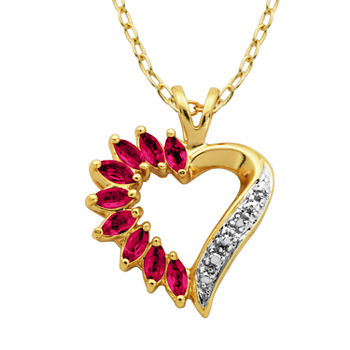 Sparkle Allure Ruby 18K Gold 18 Inch Heart Pendant Necklace
