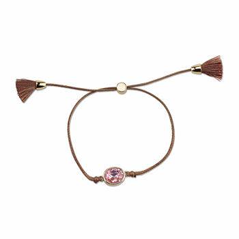 Footnotes Adjustable Brown Cord Bracelet With Large Light Rose Crystal