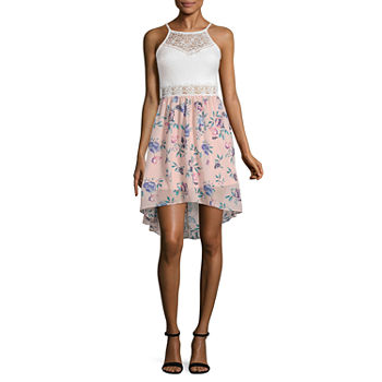 by&by-Juniors Sleeveless Floral High-Low Fit & Flare Dress