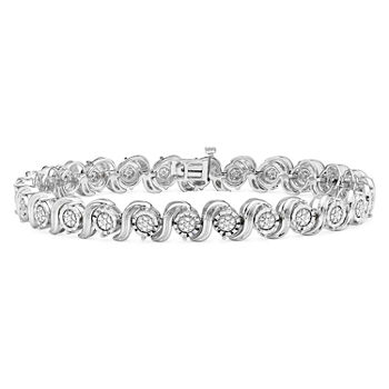 1/10 CT. T.W. Genuine White Diamond Sterling Silver Tennis Bracelet