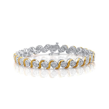 Womens 1/10 CT. T.W. Diamond 14K Yellow Gold Over Silver Tennis Bracelet