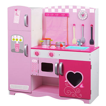 Classic Toy Wooden Pink Kitchen Playset