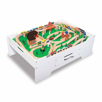 Melissa & Doug Multi-Activity Table And Wooden Railway Set Bundle