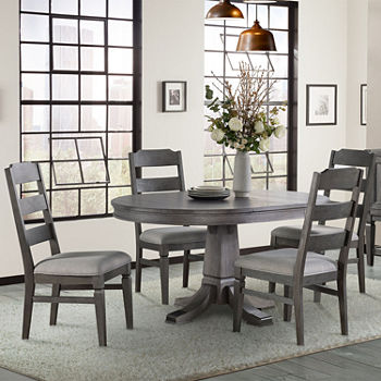 Foundry Round Table 5-Piece Dining Set with Ladder Back Chairs