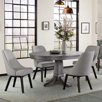 Excellent Foundry Round Table 5 Piece Dining Set With Upholstered Chairs Machost Co Dining Chair Design Ideas Machostcouk