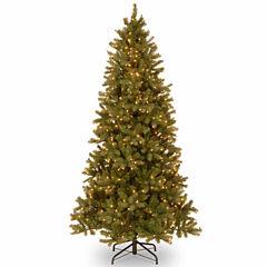 National Tree Co. 7 1/2 Foot Downswept Douglas Fir Slim Hinged Pre-Lit Christmas Tree