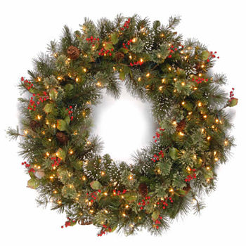 Garlands wreaths holiday decor for the home jcpenney snowflaked wintry pine indooroutdoor christmas wreath few left mozeypictures Gallery
