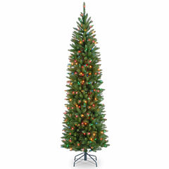 National Tree Co. 7 1/2 Foot Kingswood Fir Hinged Pencil Pre-Lit Christmas Tree