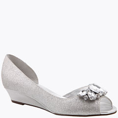 I. Miller Rhoda Glitter Open-Toe Demi-Wedge Pumps