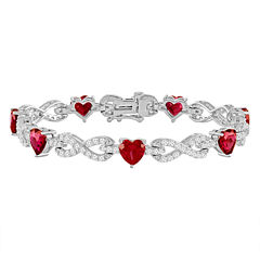 Lab-Created Ruby & Cubic Zirconia Silver over Brass Heart Infinity Link Bracelet
