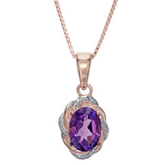 Womens Diamond Accent Purple Amethyst Gold Over Silver Pendant Necklace