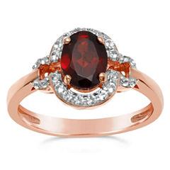 Womens Genuine Red Garnet Halo Ring