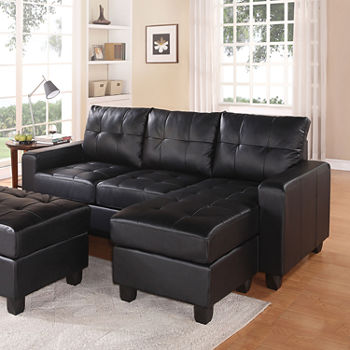 Lyssa Sectional Sofa Reversible Chaise With Ottoman Bonded Leather Match