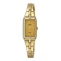 Seiko® Womens Champagne Dial Gold-Tone Stainless Steel Solar Watch SUP276