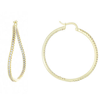 Sparkle Allure Cubic Zirconia 18K Gold Over Brass Hoop Earrings