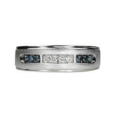 Mens 1/4 CT. T.W White & Color-Enhanced Blue Diamond 10K White Gold Wedding Band
