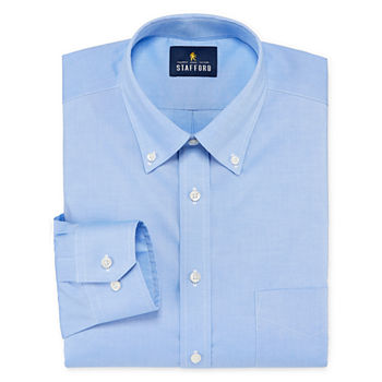 Stafford Executive Non-Iron Cotton Oxford Mens Button Down Collar Long Sleeve Stretch Dress Shirt