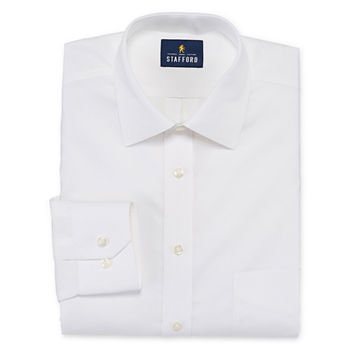 Stafford Executive Non-Iron Cotton Pinpoint Oxford Mens Spread Collar Long Sleeve Stretch Dress Shirt