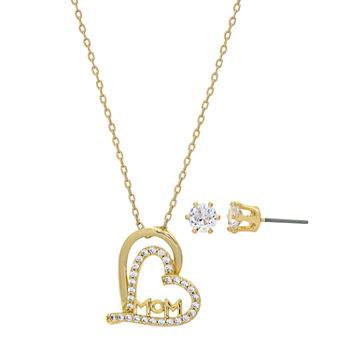 Sparkle Allure Mom 2-pc. Cubic Zirconia 14K Gold Over Brass Heart Jewelry Set