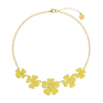 Liz Claiborne 17 Inch Cable Flower Collar Necklace