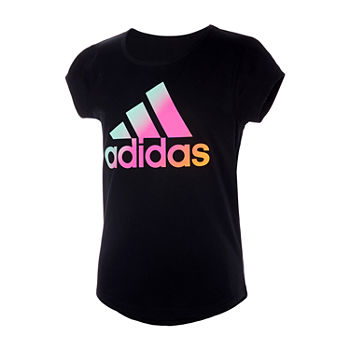 adidas Big Girls Scoop Neck Short Sleeve Graphic T-Shirt