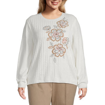 Alfred Dunner-Plus Glacier Lake Womens Crew Neck Long Sleeve Floral Pullover Sweater