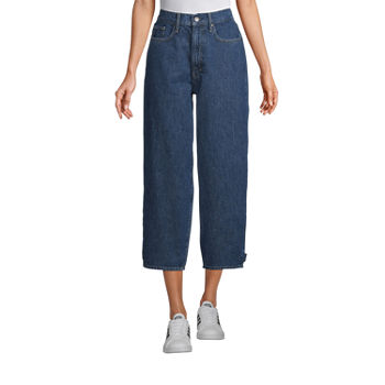 a.n.a Tall Womens Mid Rise Loose Fit Jeans