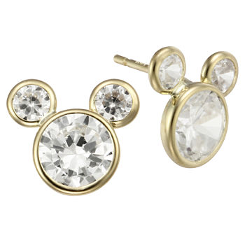 S Disney Mickey Mouse 10k Gold Cubic Zirconia Stud Earrings