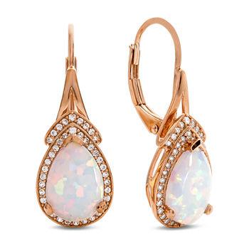 T W Lab Created White Opal 10k Rose Gold Drop Earrings