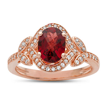 Womens Genuine Red Garnet 14K Rose Gold Over Silver Cocktail Ring