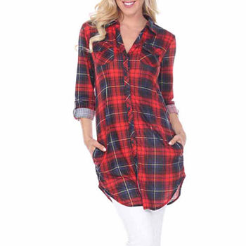 White Mark Piper Plaid Womens Long Sleeve Tunic Top