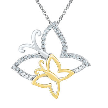 Womens Genuine White Diamond 10K Gold Over Silver Butterfly Pendant Necklace