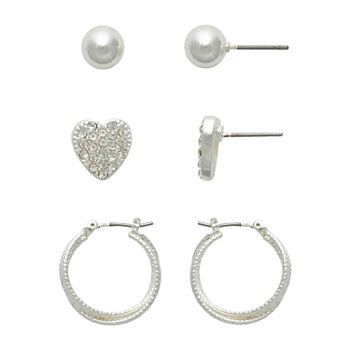 Mixit Hypoallergenic Heart 3 Pair Earring Set