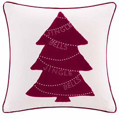 Madison Park Velvet Jingle Bells Tree Square Throw Pillow