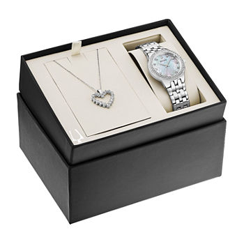 Bulova Swarovski Crystal Womens Crystal Accent Silver Tone Stainless Steel 2-pc. Watch Boxed Set-96x144