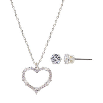 Sparkle Allure 3-pc. Cubic Zirconia Pure Silver Over Brass Heart Jewelry Set