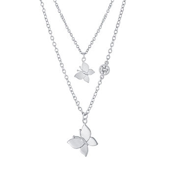Sparkle Allure Mommy & Me 2-pc. Cubic Zirconia Pure Silver Over Brass Cable Butterfly Necklace Set