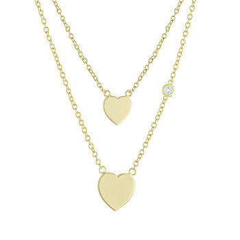 Sparkle Allure Mommy & Me 2-pc. Cubic Zirconia 18K Gold Over Brass Cable Heart Necklace Set