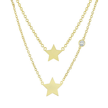 Sparkle Allure Mommy & Me 2-pc. Cubic Zirconia 18K Gold Over Brass Cable Star Necklace Set