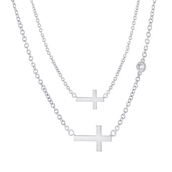 Sparkle Allure Mommy & Me 2-pc. Cubic Zirconia Pure Silver Over Brass Cable Cross Necklace Set