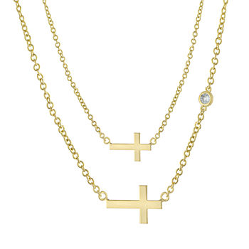 Sparkle Allure Mommy & Me 2-pc. Cubic Zirconia 18K Gold Over Brass Cable Cross Necklace Set