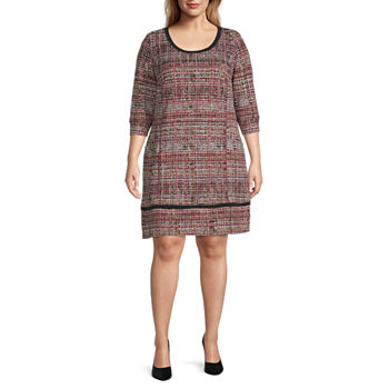 Chris Mclaughlin-Plus 3/4 Sleeve Banded Shift Dress