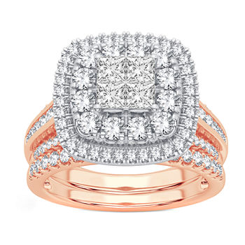 Limited Edition! Womens 1 CT. T.W. Genuine White Diamond 10K Rose Gold Bridal Set