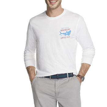IZOD Mens Crew Neck Long Sleeve Graphic T-Shirt