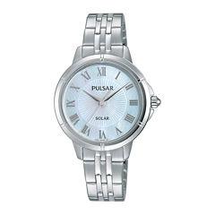 Pulsar® Womens Mother-of-Pearl Solar Bracelet Watch